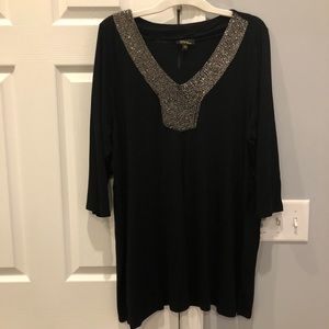 1X black tunic with beaded neckline